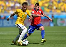 Neymar jr and Gary Medel Coupe du monde 2014 Stock Photos