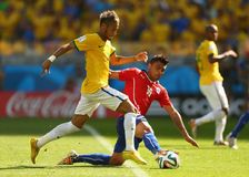 Neymar jr and Gonzalo Jara Coupe du monde 2014 Stock Image