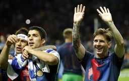 Neymar jr , Lionel Messi and Luis Suarez Juventus v FC Barcelona - UEFA Champions League Final Royalty Free Stock Images