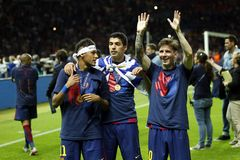 Neymar jr, Luis Suarez och Lionel Messi FC Barcelone Arkivbilder
