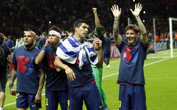Neymar-jr., Luis Suarez und Lionel Messi FC Barcelone Lizenzfreie Stockbilder