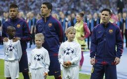 Neymar-jr., Luis Suarez und Lionel Messi FC Barcelone Stockbild