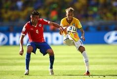 Neymar jr and Mauricio Isla Coupe du monde 2014 Stock Images