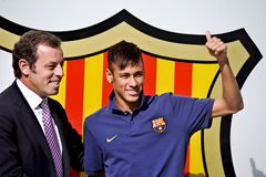 Neymar Jr Official Presentation as FC Barcelona player Stock Photos