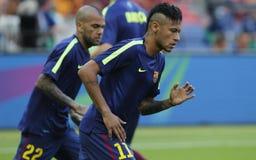 Neymar-jr. und Dany Alves FC Barcelone Stockbilder