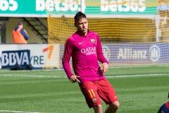 Neymar Jr värmer upp före den LaLiga matchen mellan Villarreal CF och FCet Barcelona Arkivfoto
