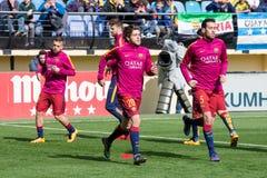 Neymar Jr värmer upp före den LaLiga matchen mellan Villarreal CF och FCet Barcelona Royaltyfri Bild
