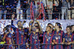 Neymar lifts the UEFA Champions League Trophy Stock Photography