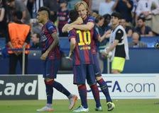 Neymar, Lionel Messi y Ivan Rakitic Fotos de archivo libres de regalías