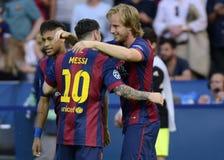Neymar, Lionel Messi y Ivan Rakitic Imagenes de archivo
