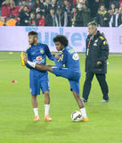 Neymar och Willian Arkivfoton