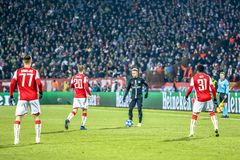 Neymar playing on a UEFA Champions League match stock photos