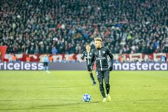 Neymar playing on a UEFA Champions League match royalty free stock images