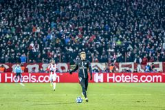 Neymar playing on a UEFA Champions League match royalty free stock photos