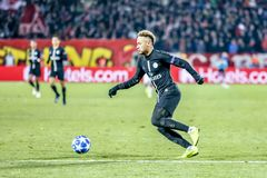 Neymar playing on a UEFA Champions League match royalty free stock photography