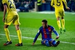 Neymar plays at the La Liga match between Villarreal CF and FC Barcelona stock photo