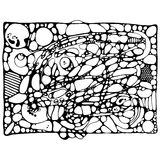 Neyrografika: zwart-witte overzichtstekening Stock Foto