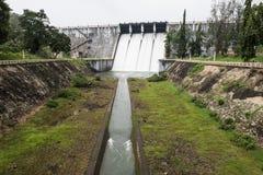 Neyyar水坝从距离的水闸 库存图片
