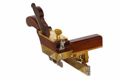 Nezar Hand crafted circular plough-plane. A recent hand crafted copy of the mysterious and very rare Thomas Falconer hand plane from the 19th century isolated on Royalty Free Stock Photos