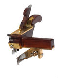 Nezar Hand crafted circular plough-plane. A recent hand crafted copy of the mysterious and very rare Thomas Falconer hand plane from the 19th century isolated on royalty free stock photo