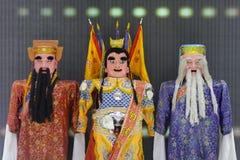 Nezha with god of wealth (left) and god of longevity (right) Royalty Free Stock Photo