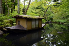 Nezu museum garden in summer, Tokyo, Japan. The original garden, designed in the shinzan-yūkoku、deep mountains and mysterious valleys, style, included rustic Stock Images