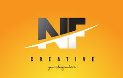 NF N F Letter Modern Logo Design with Yellow Background and Swoo. NF N F Letter Modern Logo Design with Swoosh Cutting the Middle Letters and Yellow Background Royalty Free Stock Image