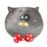 Gray pet animals cat red. Nface of a fat cat red butterfly in a polka dot cat serious Royalty Free Stock Image