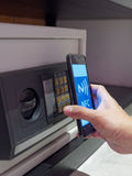 Nfc's phone use for unlock safe deposit box Stock Image