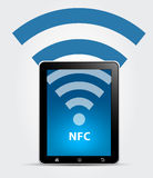 NFC κοντά στην έννοια επικοινωνίας πεδίων Στοκ Εικόνες