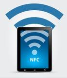 NFC aproximam o conceito de uma comunicação do campo Imagens de Stock