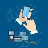 NFC-betalings moderne smartphone met verwerking van mobiele betalingen Stock Foto