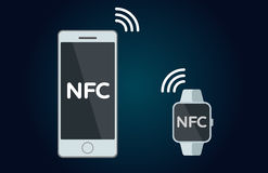 NFC concept flat icon. Mobile payments and near field communication. Transaction and paypass and NFC. Vector illustration Stock Images