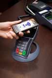 NFC - Near field communication. / mobile payment Stock Photos