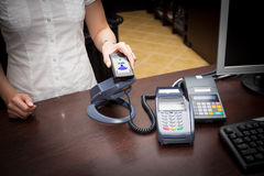 NFC - Near field communication. / mobile payment Royalty Free Stock Image