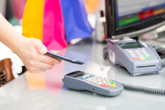 NFC - Near field communication. Mobile payment Royalty Free Stock Photos
