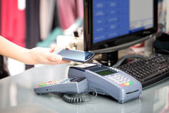 NFC - Near field communication. Mobile payment Stock Image