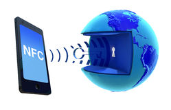 NFC - Near Field Communication. NFC, mobile payment, Wireless Technology Royalty Free Stock Images