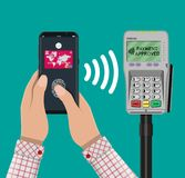 Nfc payment flat design style. Pos terminal confirms the payment by smartphone with fingerprint sensor. NFC and wireless payments concept. Vector illustration in Stock Photo