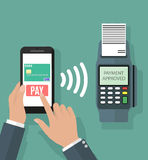 Nfc payment flat design style Royalty Free Stock Photography