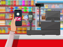 Nfc payment in supermarket Royalty Free Stock Photos