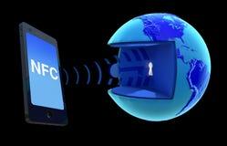 NFC - Perto de uma comunicação do campo imagem de stock
