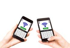 NFC - Perto de uma comunicação do campo Fotografia de Stock Royalty Free