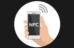 NFC smart phone concept flat icon. NFC concept flat icon payment with mobile phone Royalty Free Stock Photography