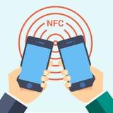 Nfc telefonu technologii wizytówki mądrze ikony sieci znaka symbolu loga płaska etykietka Zdjęcie Stock