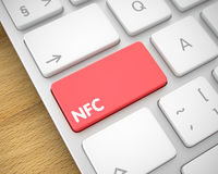 NFC - Testo sul bottone rosso della tastiera 3d Fotografia Stock
