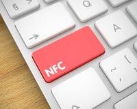 NFC - Text på den röda tangentbordknappen 3d Arkivfoto