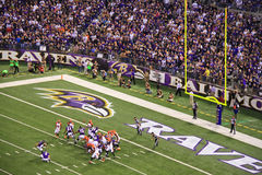 NFL橄榄球场目标尝试 库存图片