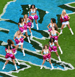 NFL - Cheerleaders!. Carolina Panther cheerleaders perform a routine during a timeout at an NFL football game between the Washington Redskins and Carolina Stock Photos