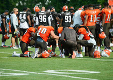 NFL Cleveland Browns Players in Prayer Royalty Free Stock Images